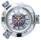 Bulleye-Clock Compass rose chromed 14 cm